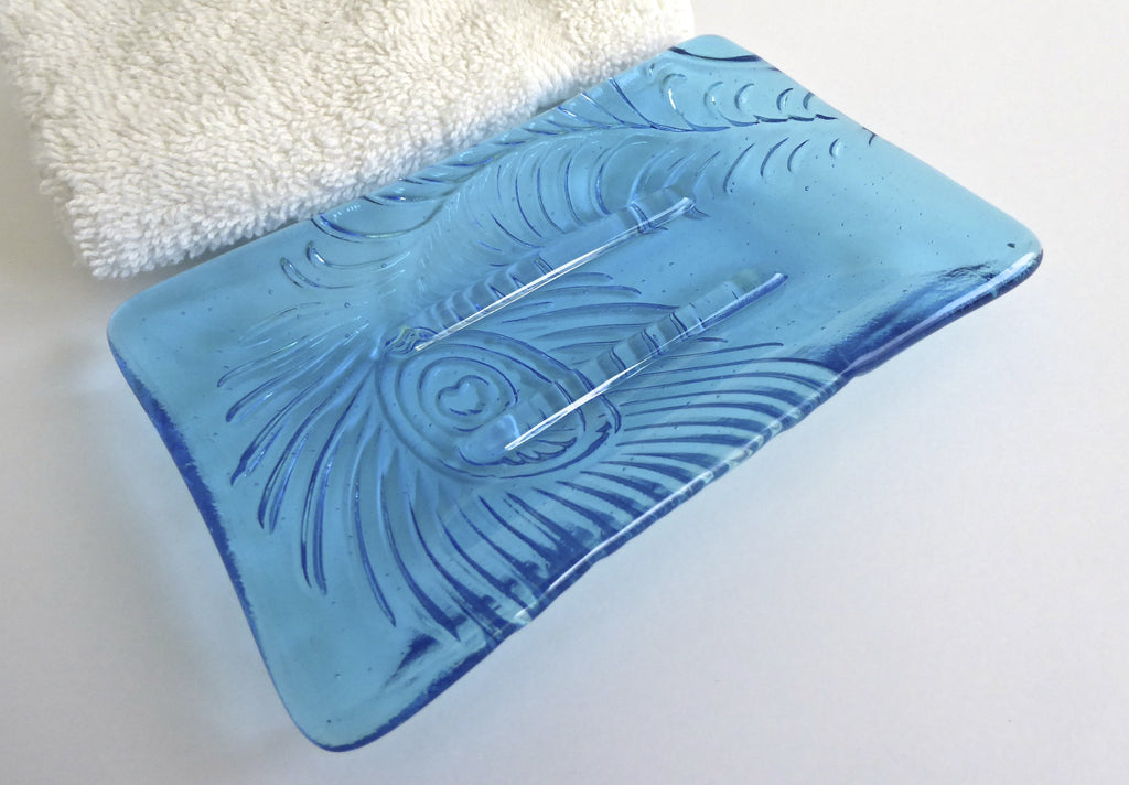 Peacock Feather Imprint Soap Dish in Light Turquoise Fused Glass