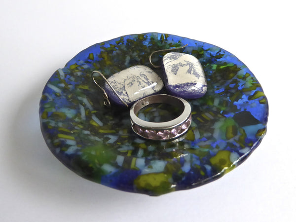 Fused Glass Ring Dish in Blue and Green