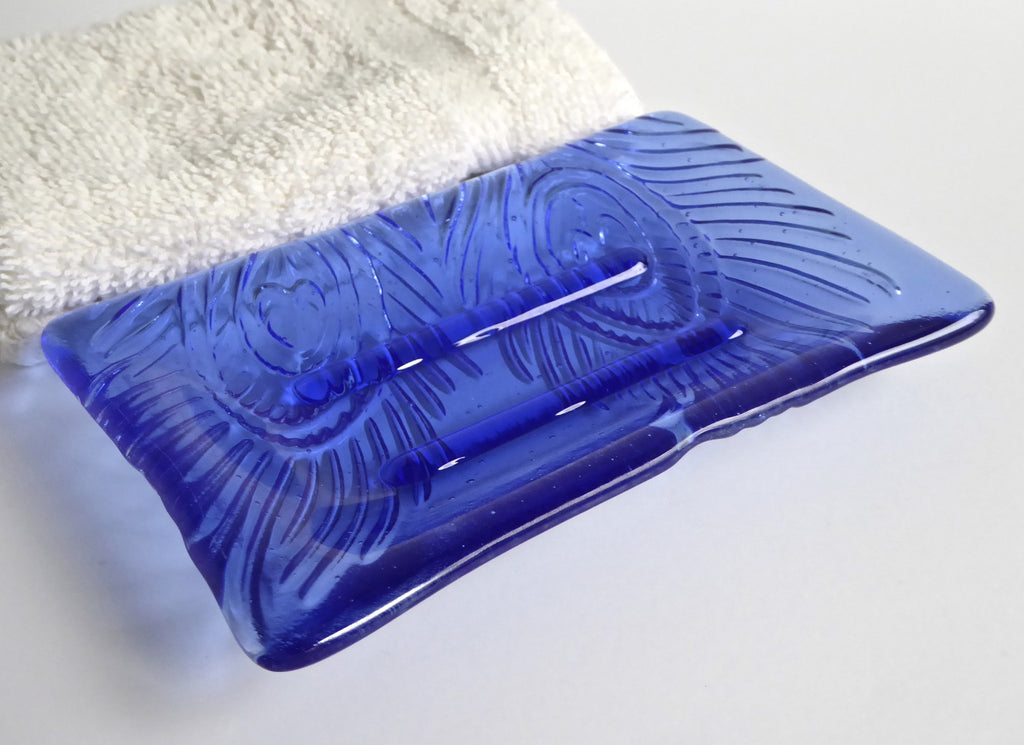 Peacock Feather Imprint Soap Dish in Sky Blue Fused Glass