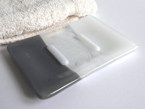 Fused Glass Soap Dish in White and Gray