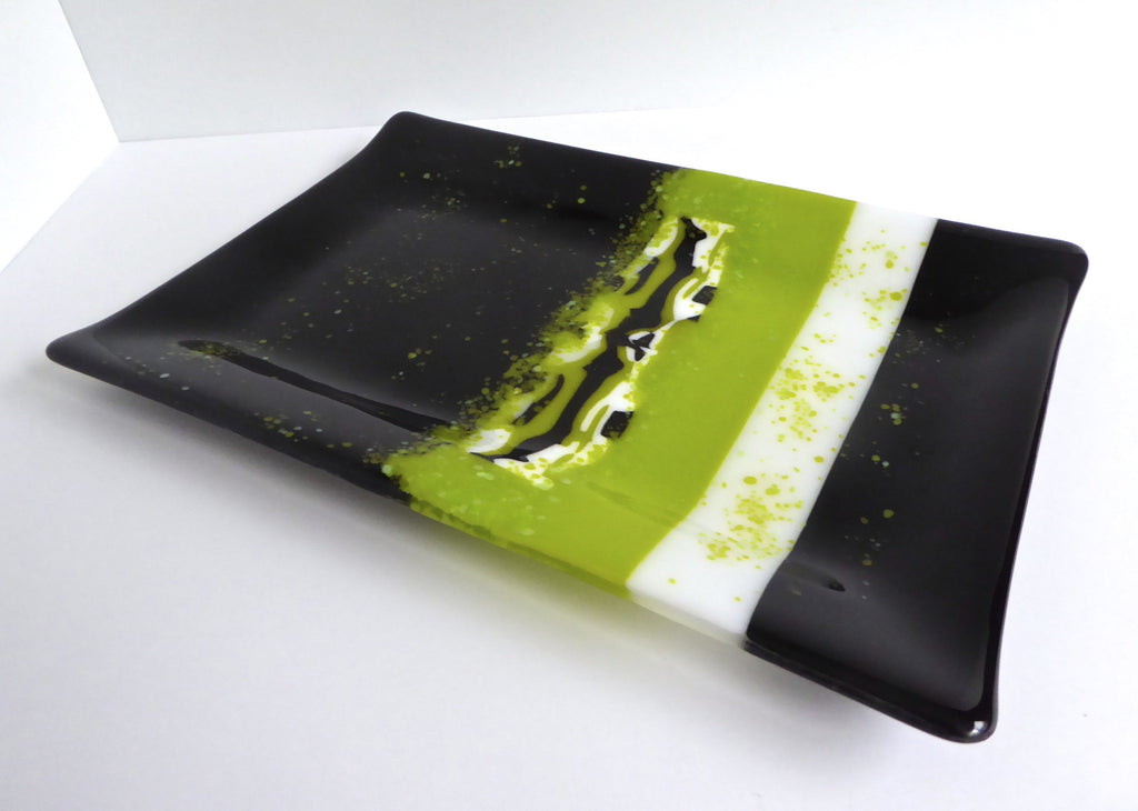 Fused Glass Platter in Black and Green-1