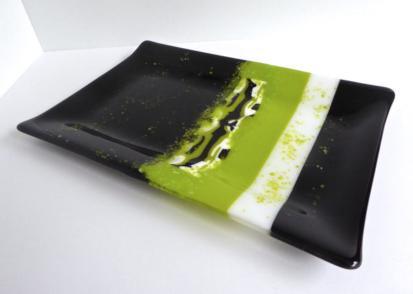 Fused Glass Platter in Black and Green