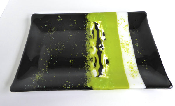 Fused Glass Platter in Black and Green-2