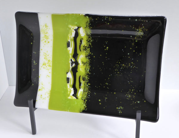 Fused Glass Platter in Black and Green-5