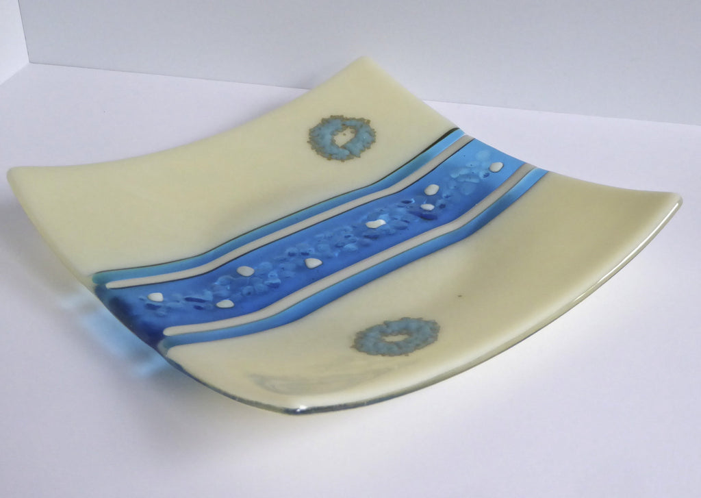 Fused Glass Plate in Turquoise and French Vanilla-1