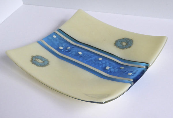 Fused Glass Plate in Turquoise and French Vanilla