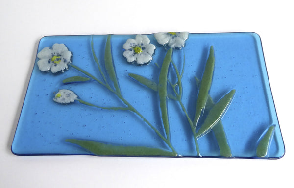 Fused Glass Floral Art Plate