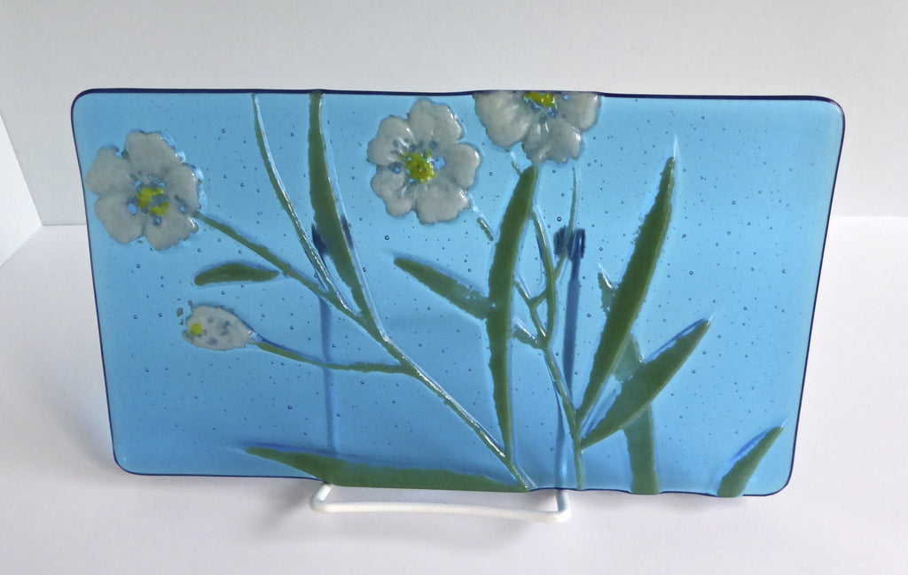 Blue Fused Glass Floral Art Plate-1