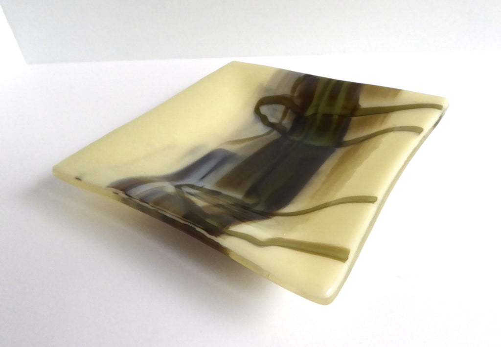 Fused Glass Dish in Streaky French Vanilla, Aqua and Brown