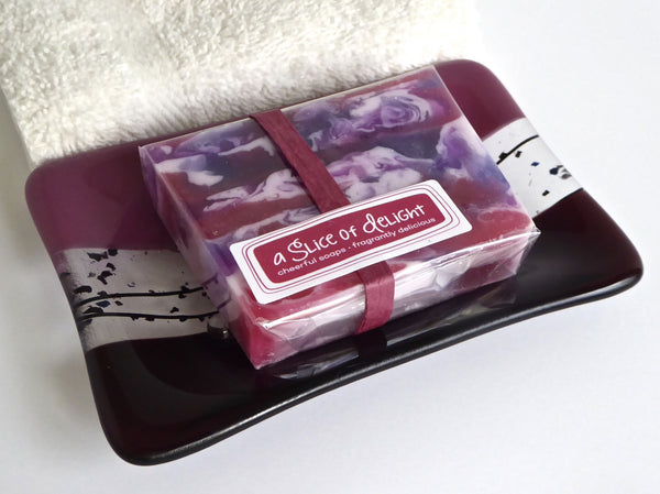 Large Soap Dish in Deep Plum Fused Glass-5