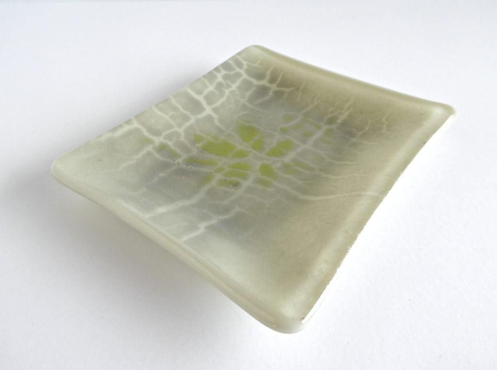 Fused Glass Crackle Dish in Khaki and Green-1