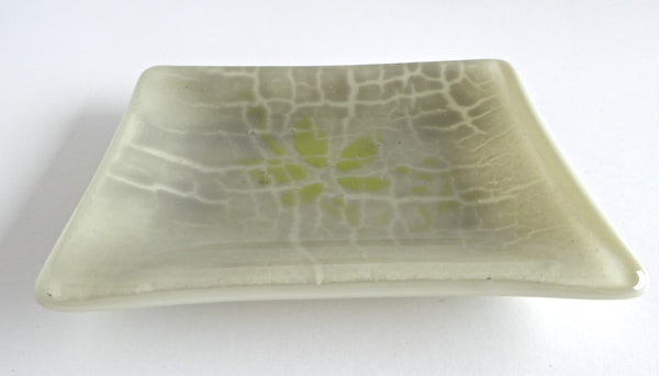 Fused Glass Crackle Dish in Khaki and Green
