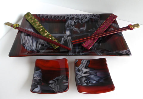 Fused Glass Sushi Set in Tomato Red, White and Black-1