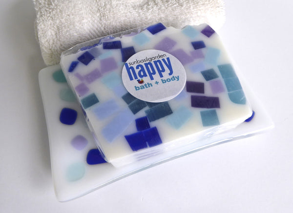 Large Fused Glass Soap in White with Colorful Confetti Decor-6