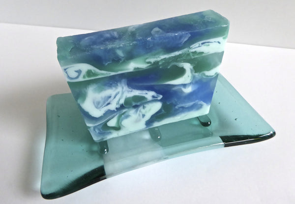 Fused Glass Soap Dish in Aquamarine and Turquoise-6