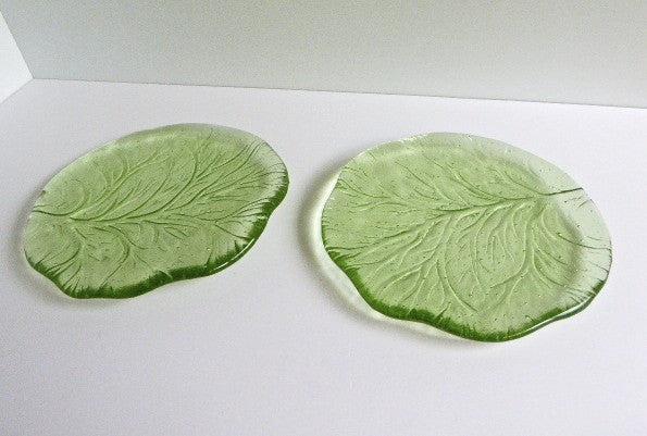 Pair of Fused Glass Salad or Dessert Plates-1