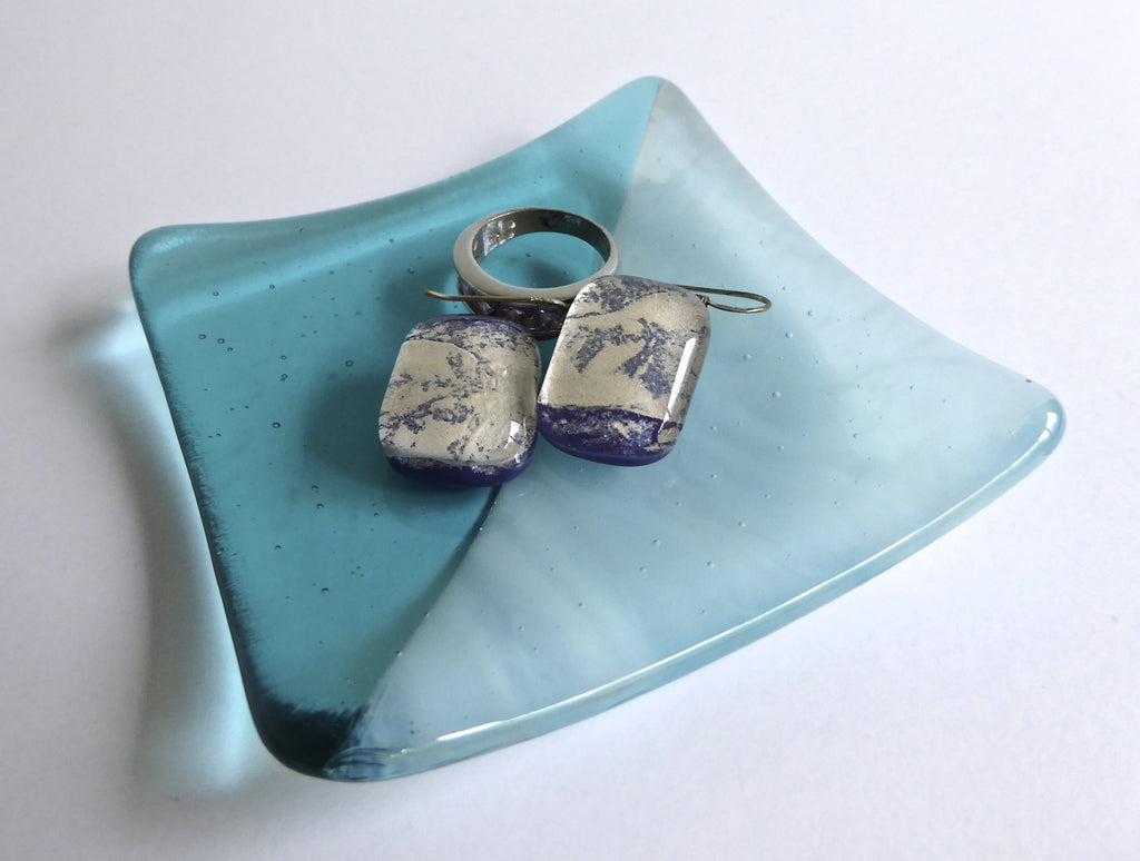 Fused Glass Ring Dish in Aqua Transparent and Streaky Glass