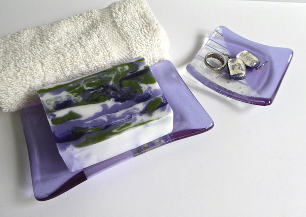 Fused Glass Ring Dish in Lavender Transparent and Collage Glass