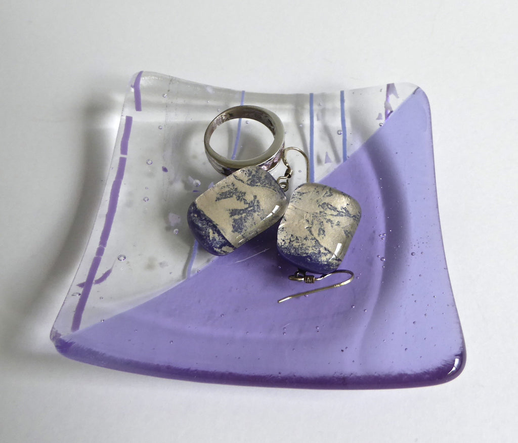 Fused Glass Ring Dish in Lavender Transparent & Collage Glass