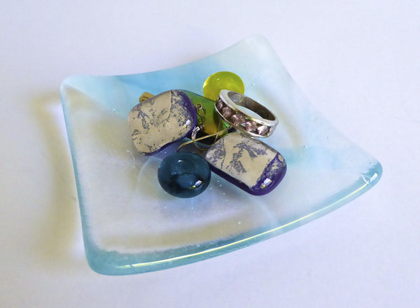 Fused Glass Ring Dish in Streaky White and Turquoise