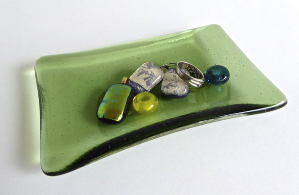 Fused Glass Small Dish in Leaf Green