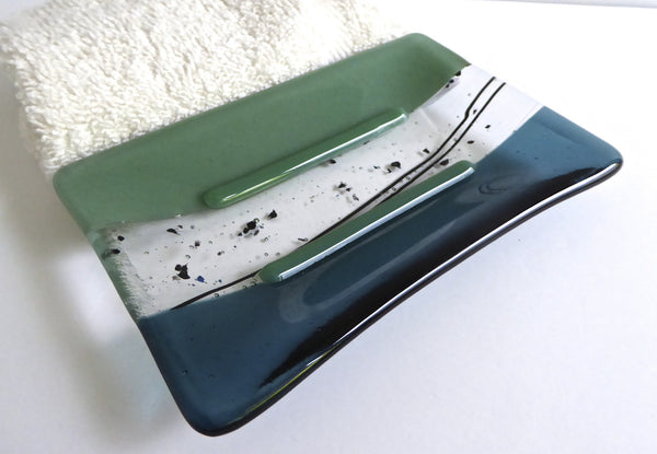 Large Fused Glass Soap Dish in Mineral Green and Sea Blue-1
