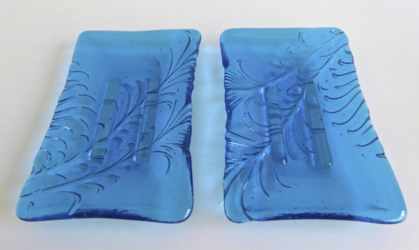 Feather Imprint Soap Dish in Bright Turquoise Fused Glass-5