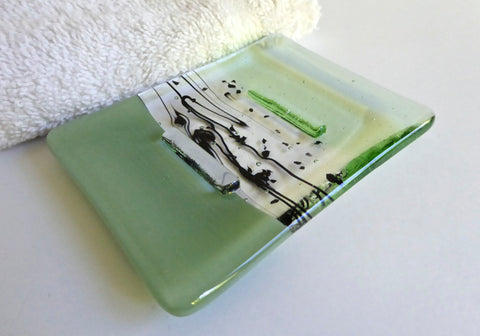 Fused Glass Soap Dish in Celadon and Pale Green-1