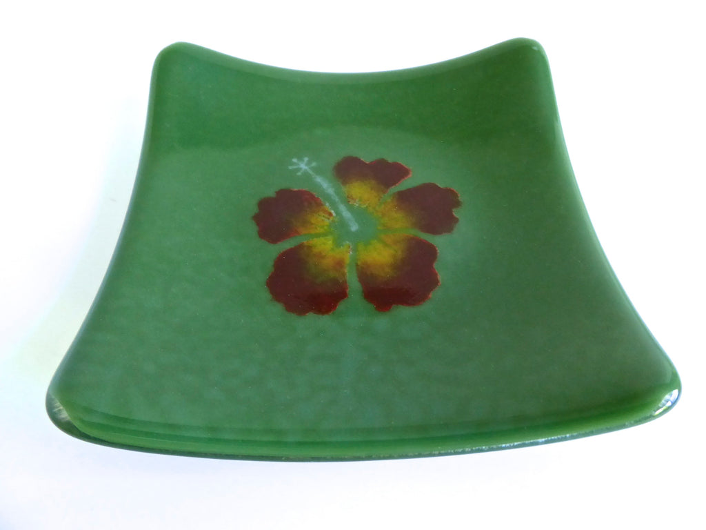 Fused Glass Hibiscus Plate by BPRDesigns