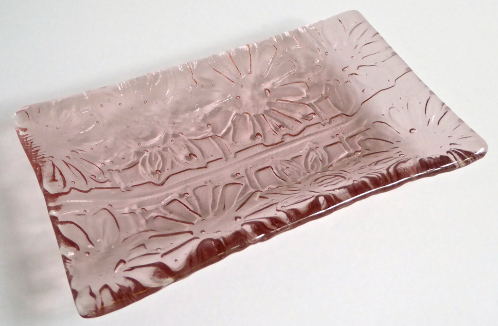 Fused Glass Flower Imprint Dish in Blush Pink