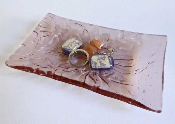 Fused Glass Mum Flower Imprint Dish in Blush Pink