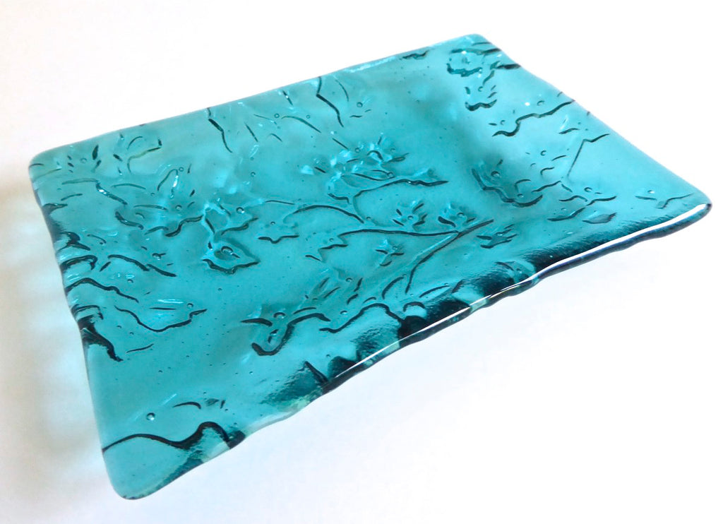 Fused Glass Lace Imprint Dish in Light Aquamarine
