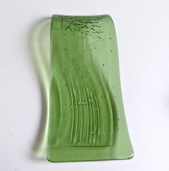 Fused Glass Bamboo Imprinted Spoon Rest in Leaf Green