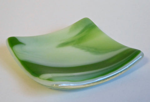 Green and White Streaky Fused Glass Dish