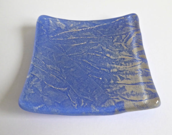 Fused Glass Ring Dish in Cobalt and Silver