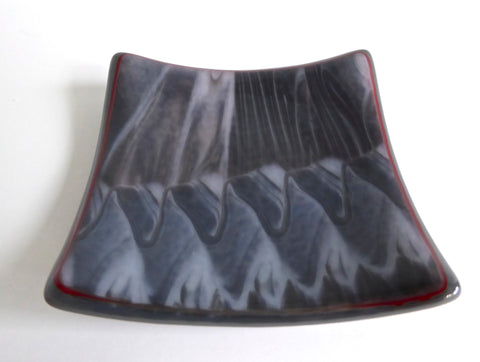Fused Glass Small Dish in Red, Gray and White