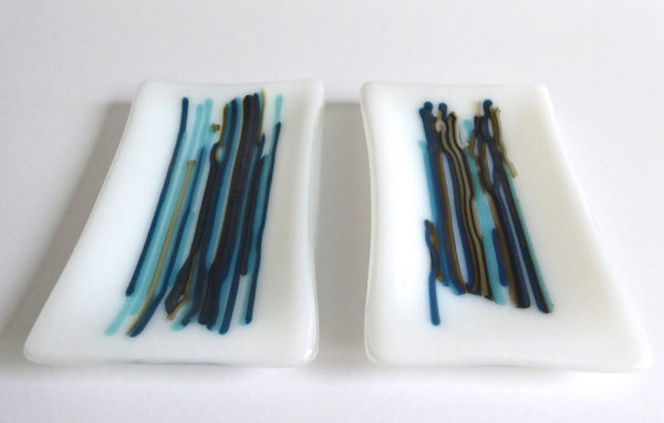 Fused Glass Small Dish in White and Blue