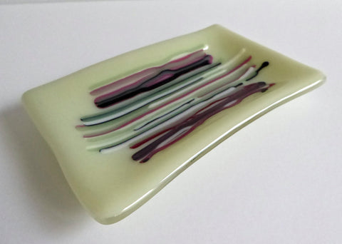 Fused Glass Small Dish in Green, Pink and White