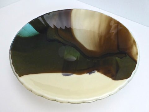 Round Fused Glass Bowl in French Vanilla, Brown and Aqua