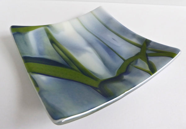 Fused Glass Plate in Streaky White, Green and Blue