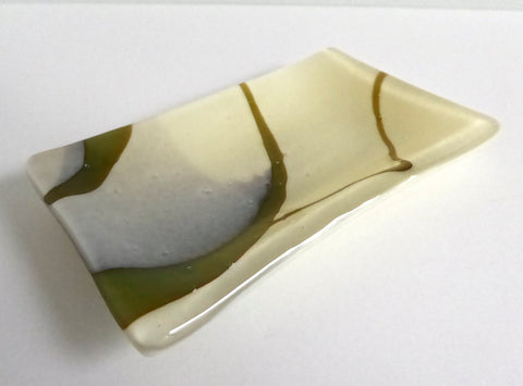 Fused Glass Small Dish in Streaky French Vanilla