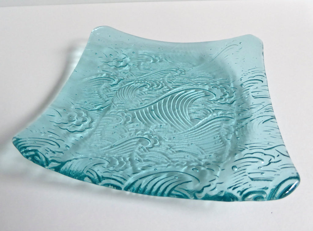 Fused Glass Wave Plate in Pale Aqua