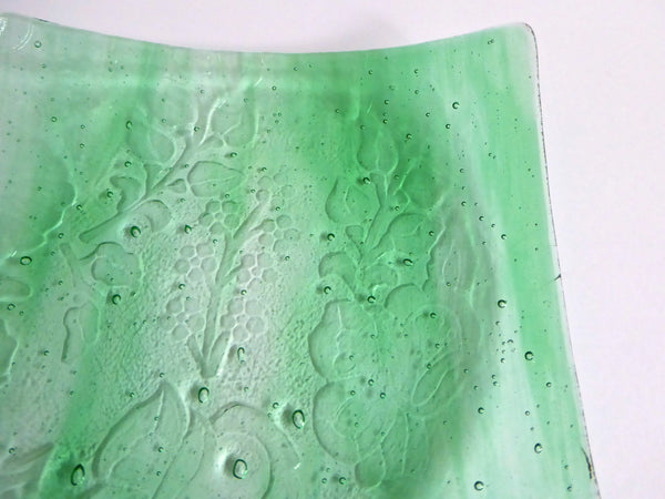 Fused Glass Floral Plate in Streaky Green
