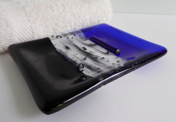 Fused Glass Soap Dish in Royal Blue and Black