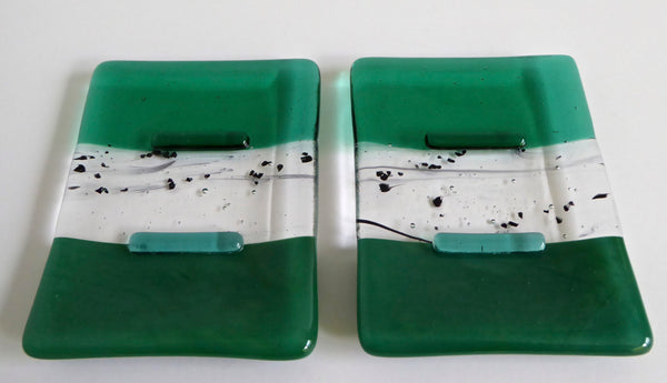 Emerald Green Fused Glass Soap Dish