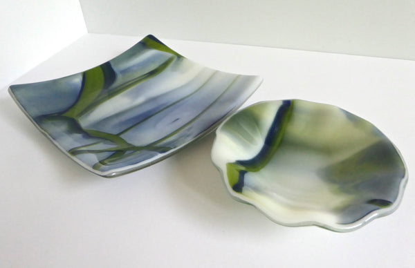 Fused Glass Bowl in Blue, Green and White
