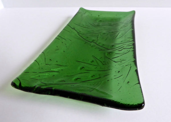 Fused Glass Bamboo Imprint Dish in Light Green