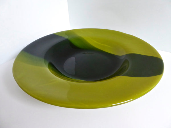 Blue and Green Fused Glass Rimmed Bowl