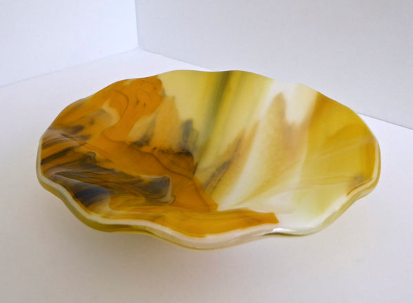 Fused Glass Bowl in Streaky Yellow, White and Black