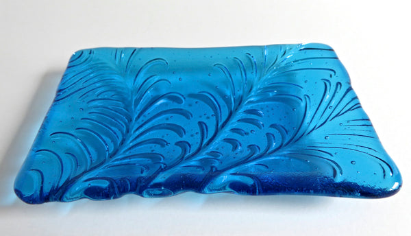 Fused Glass Feather Imprint Dish in Bright Turquoise